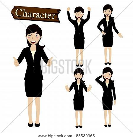 Businesswoman Character Set Vector  Illustration