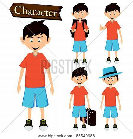 Boy Character Set Vector Illustration