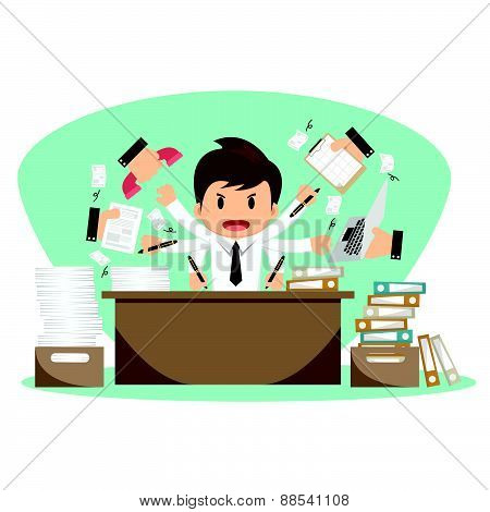 Businessman On Office Worker Vector Illustration