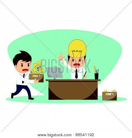 Businessman Serving Idea Vector Illustration