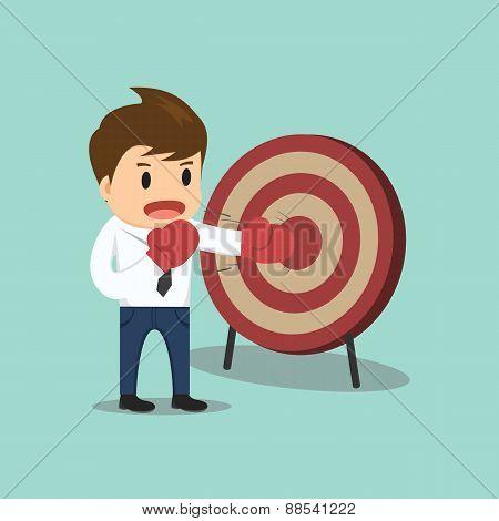 Businessman Hitting The Target Vector Illustration