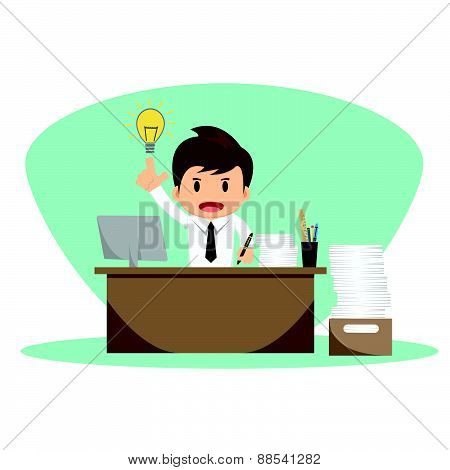 Businessman With Thinking Vector Illustration
