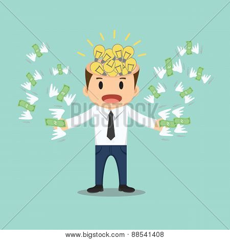 Businessman With Bulb Idea Head Flying Money In Hand Vector Illustration