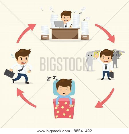 Businessman Circle Work Set Vector Illustration