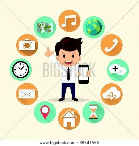 Businessman Surround Mobile Application Set Vector Illustration