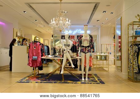 HONG KONG - APRIL 17, 2015: New Town Plaza interior. New Town Plaza is a shopping mall in the town centre of Sha Tin in Hong Kong. Developed by Sun Hung Kai Properties.