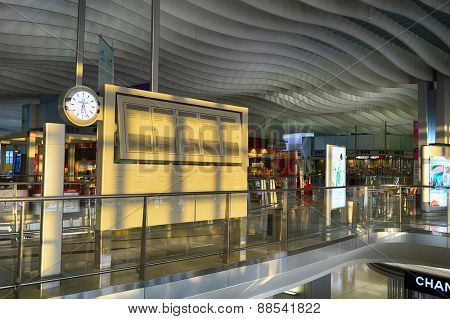 HONG KONG - APRIL 15, 2015: Hong Kong International Airport interior. Hong Kong International Airport is the main airport in Hong Kong. It is located on the island of Chek Lap Kok