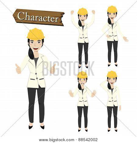 Engineer Character Set Vector Illustration