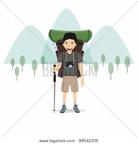 Man With A Backpack And Mountain, Vector Illustration