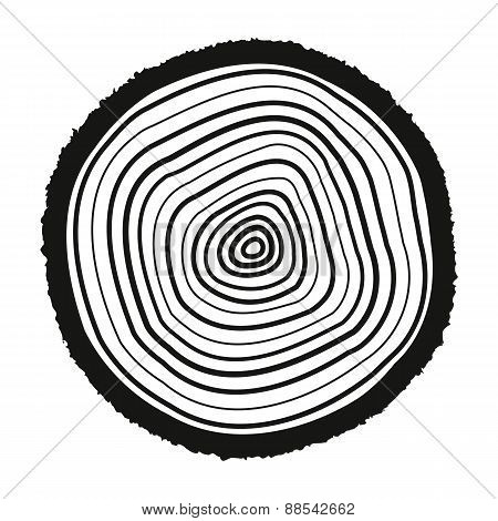 The Tree Rings Icon. Tree Rings Symbol. Flat