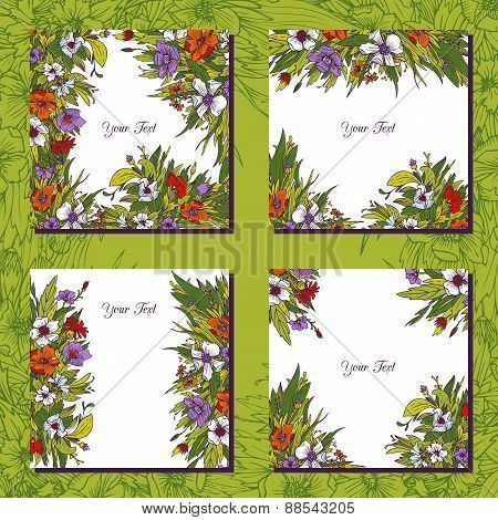 four floral templates with flowers