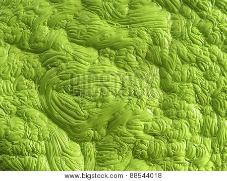 Bright green polymer mass with a gloss structure