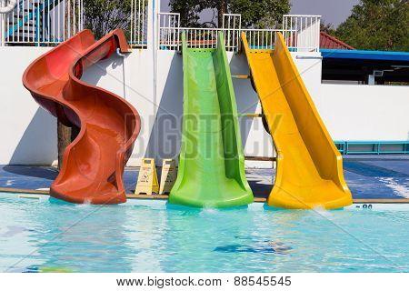 Colorful Slider Beside Swimming Pool