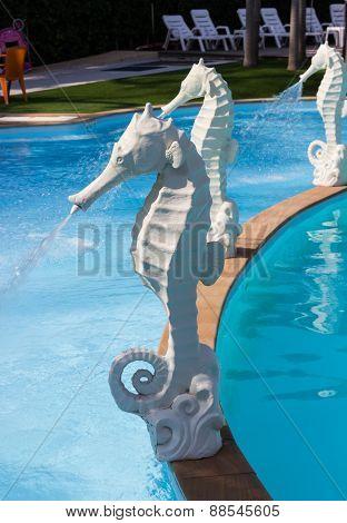 White Seahorse Statue Fountain