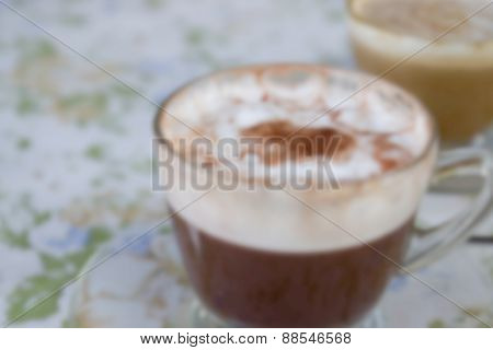 Blurry Defocused Hot Mocha And Hot Cappuccino For Background