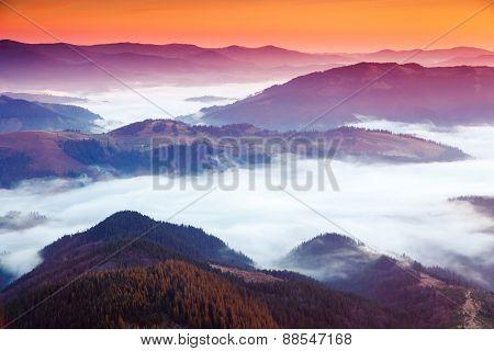 Fantastic morning mountain landscape. Carpathian, Ukraine, Europe. Beauty world.