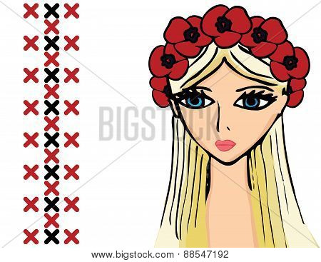 girl or woman with wreath of poppies