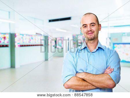teacher portrait and school background