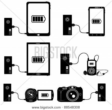 Power Bank Bw icons