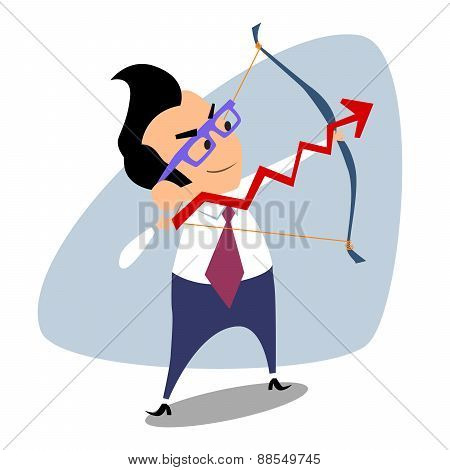 Businessman Archery Schedule Of Sales Business Theme Sports