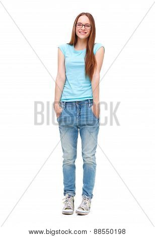Full Length Portrait Of Young Girl In Casual Clothing Isolated On White.