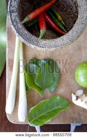 Red Chili In Mortar With Tomyum Ingredients