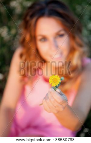 Woman holding a yellow flower. Focus on the flower