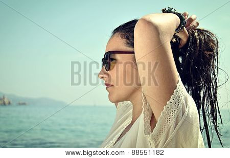 Latin Woman In The Sea