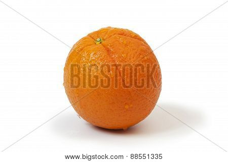 Whole Orange With Water Drops On White