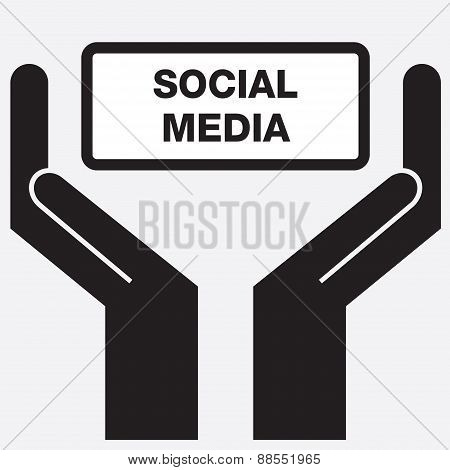 Hand showing free social media sign.