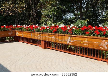 Flowerbed Decorating On The Terrace
