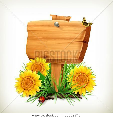 Signboard with sunflowers, ladybug and butterfly on a white background, vector icon, an universal frame for advertising in the summertime