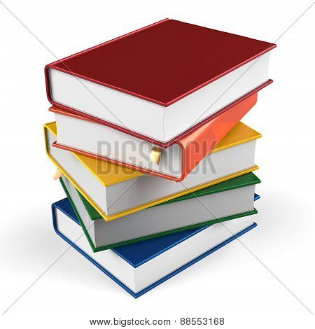 Book Stack Of Textbooks Hard Covers Colorful Blank