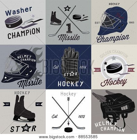 Ice hockey labels and design elements