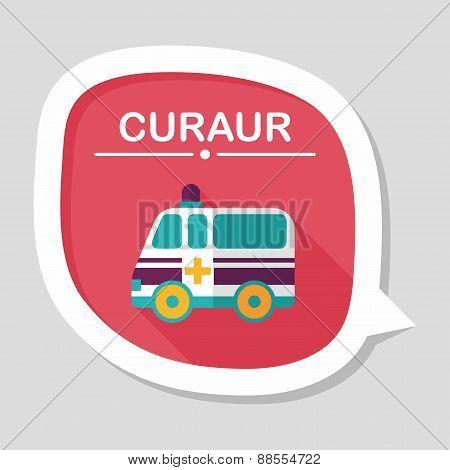 Ambulance Car Flat Icon With Long Shadow,eps10
