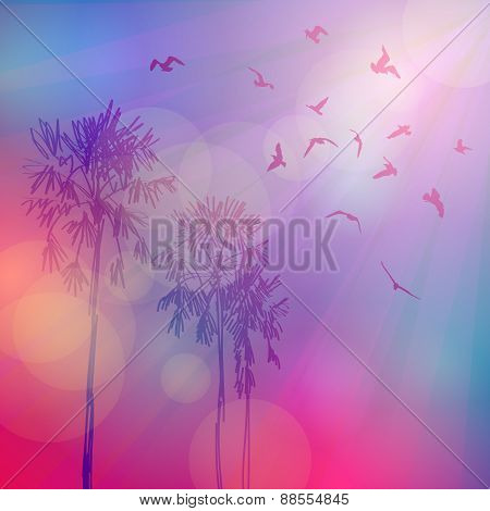 Silhouette of palm trees and birds, sky pink background, sunset, dawn. Vector