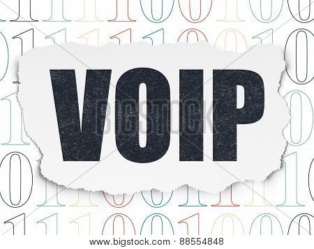 Web development concept: VOIP on Torn Paper background