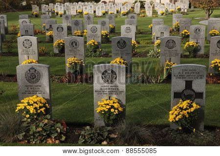 PRAGUE, CZECH REPUBLIC - NOVEMBER 9, 2012: Commonwealth War Cemetery with graves of UK and Allied soldiers fallen during World War II at the Olsany Cemetery in Prague, Czech Republic.