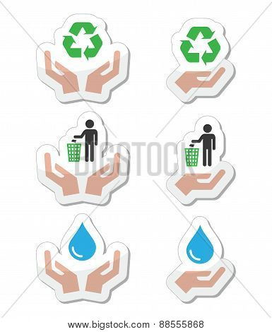 Hands with green, ecology symbols icons set