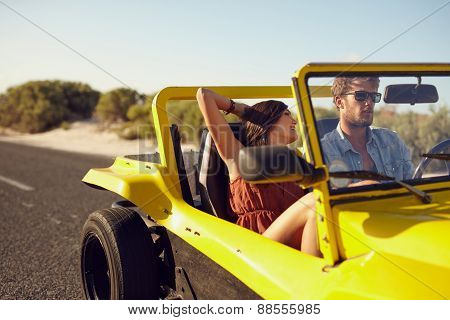 Romantic Couple In Long Drive In Countryside