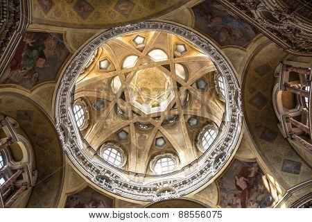 The dome of San Lorenzo Church in Turin