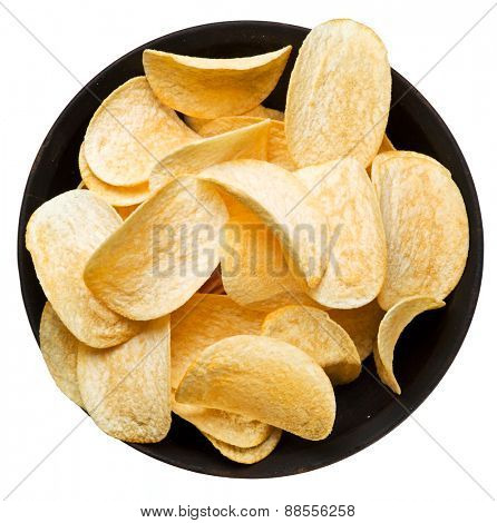 Potato chips in the bowl. File contains clipping paths.