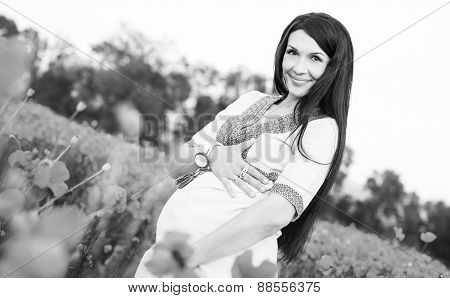 Pretty Pregnant Brunette Woman