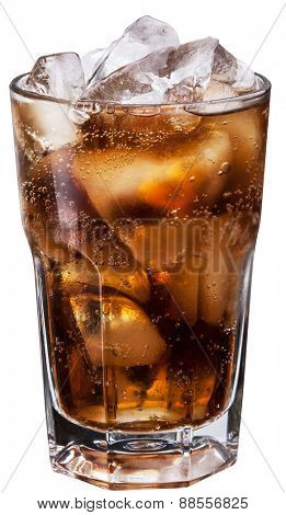Glass of cola with ice cubes. File contains clipping paths.