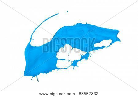blue paint splash isolated on white background