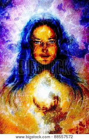 Painting Woman With Long Blue Hair, Holding A Sourceful Of A White Light On Her Palm, With Structure