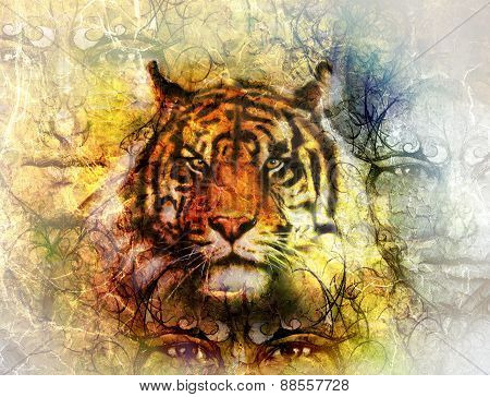 Painting Of A Bright Mighty Tiger Head On Ornamental Background And Mystic Face, Collage