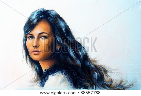 Young Woman Portrait, With Long Dark Hair And Blue Eye , Color Painting.