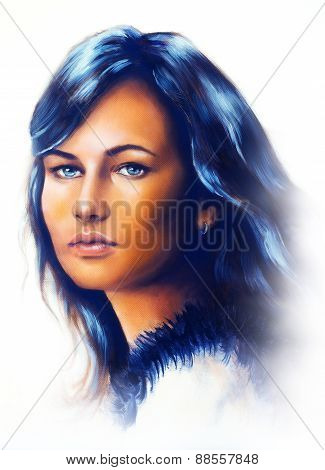 Young Woman Portrait, With Long Dark Hair And Blue Eye , Color Painting, White Background.
