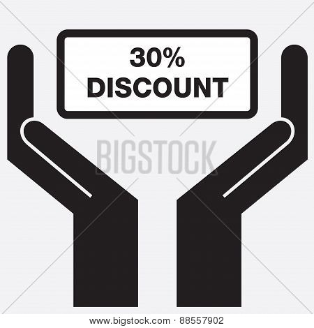 Hand showing 30 percent discount sign icon.